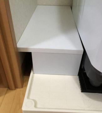 洗濯機の隙間を有効活用DIY。防水パンの上に棚を作ってみた